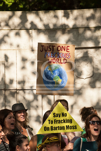Protesters hold placards, one says 'Just One Precious World', at the Climate Change demonstration, London, 21st September 2014. © Sue Cunningham