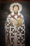 Frescoe of St. Sava created during his life within the Church of the Ascension of Jesus Christ at the Monastery Mileseva, Serbia originally built in the 13th century.