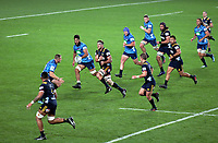 Action from the Super Rugby match between the Blues and Highlanders at Eden Park in Auckland, New Zealand on Friday, 20 April 2018. Photo: Niels Schipper / lintottphoto.co.nz