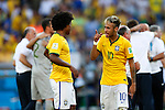 (L-R) Willian, Neymar (BRA),<br /> JUNE 28, 2014 - Football / Soccer :<br /> Willian and Neymar celebrate after winning the penalty shoot out during the FIFA World Cup Brazil 2014 Round of 16 match between Brazil 1(3-2)1 Chile at Estadio Mineirao in Belo Horizonte, Brazil. (Photo by D.Nakashima/AFLO)
