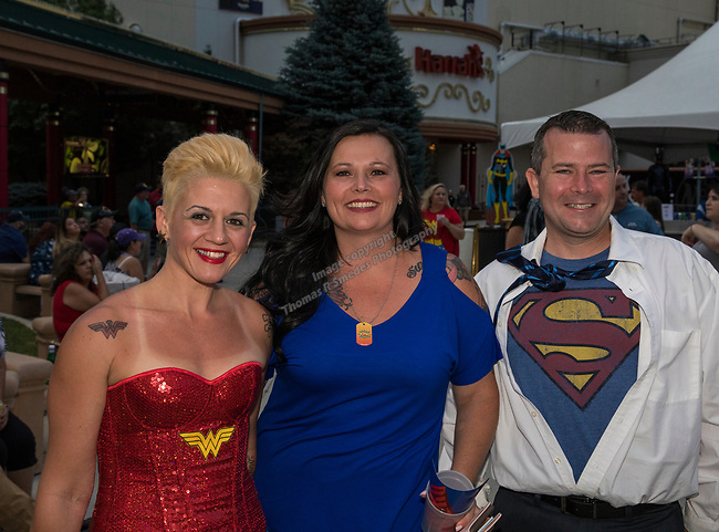 Julie Moon, Kristi Kackley and TJ Moon during the Super Hero Crawl in Reno on Saturday, July 15 2017.