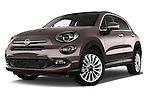 Stock pictures of low aggressive front three quarter view of a 2015 Fiat 500X Lounge 5 Door SUV