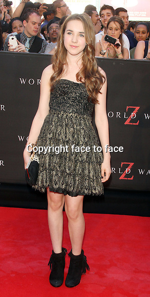 NEW YORK, NY - JUNE 17: Ruby Jerins at the 'World War Z' New York Premiere at Duffy Square in Times Square on June 17, 2013 in New York City.<br />