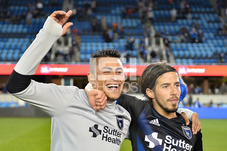 San Jose, CA - Saturday, March 11, 2017: Darwin Ceren, Jahmir Hyka during a Major League Soccer (MLS) match between the San Jose Earthquakes and the Vancouver Whitecaps FC at Avaya Stadium.