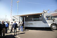 People wait in line to view the township police command center vehicle during an open house Sunday, April 10, 2016 at Bensalem Police Station in Bensalem, Pennsylvania.  (Photo by William Thomas Cain)