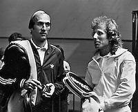 11978,Netherlands,ABN tennis Tournament, Rotterdam, Stan Smith (USA) and Vitas Gerulaitis(r) (USA)