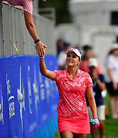 Lexi Thompson, of the United States, high fives fans along the way, of Champions enroute to the 18th green. Lexi finished her round at -6, T17 during the third round of the ANA Inspiration at the Mission Hills Country Club in Palm Desert, California, USA. 3/31/18.<br /> <br /> Picture: Golffile | Bruce Sherwood<br /> <br /> <br /> All photo usage must carry mandatory copyright credit (&copy; Golffile | Bruce Sherwood)during the second round of the ANA Inspiration at the Mission Hills Country Club in Palm Desert, California, USA. 3/31/18.<br /> <br /> Picture: Golffile | Bruce Sherwood<br /> <br /> <br /> All photo usage must carry mandatory copyright credit (&copy; Golffile | Bruce Sherwood)
