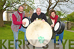 Liam O'Maonlai?, Dan Cronin and Ro?na?n O?'Sno?daigh launch the World Bodhran festival in Milltown on Saturday