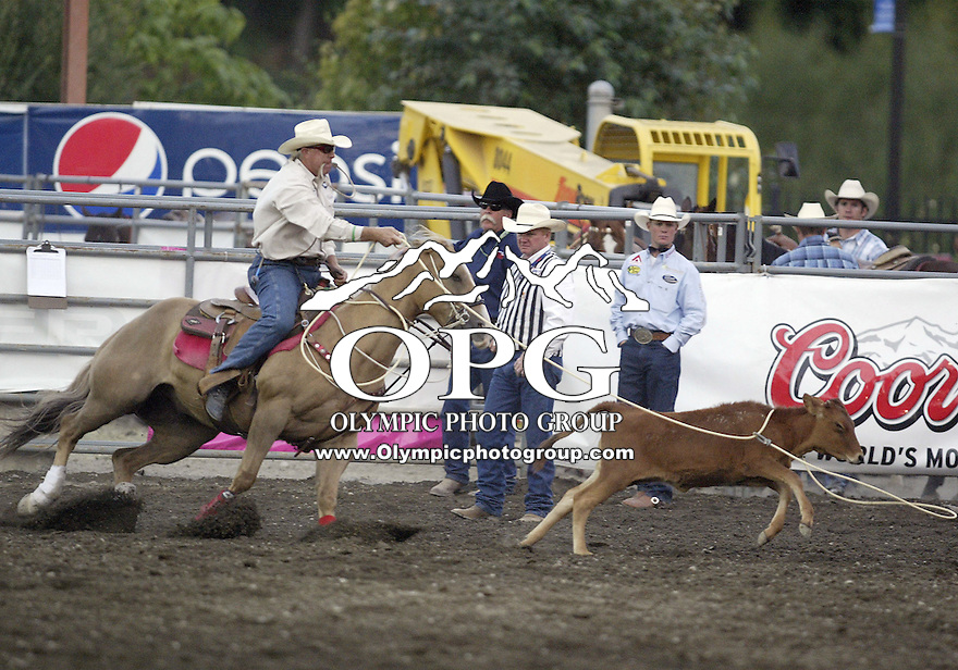 26 August 2009:  Mike Johnson from Henryetta, Oklahoma scored a time of 7.6 in the tie down competition Wednesday at the Kitsap Rodeo in Bremerton, Washington.
