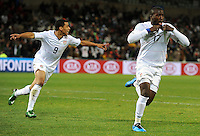 Jozy Altidore of USA celebrates scoring the opening goal. USA defeated Spain 2-0 during the semi-finals of the FIFA Confederations Cup at Free State Stadium in Manguang/Bloemfontein, South Africa on June 24, 2009..