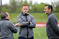 Piscataway, NJ - Sunday April 30, 2017: Tony Novo, Christy Holly, and Vlatko Andonovski during a regular season National Women's Soccer League (NWSL) match between Sky Blue FC and FC Kansas City at Yurcak Field.