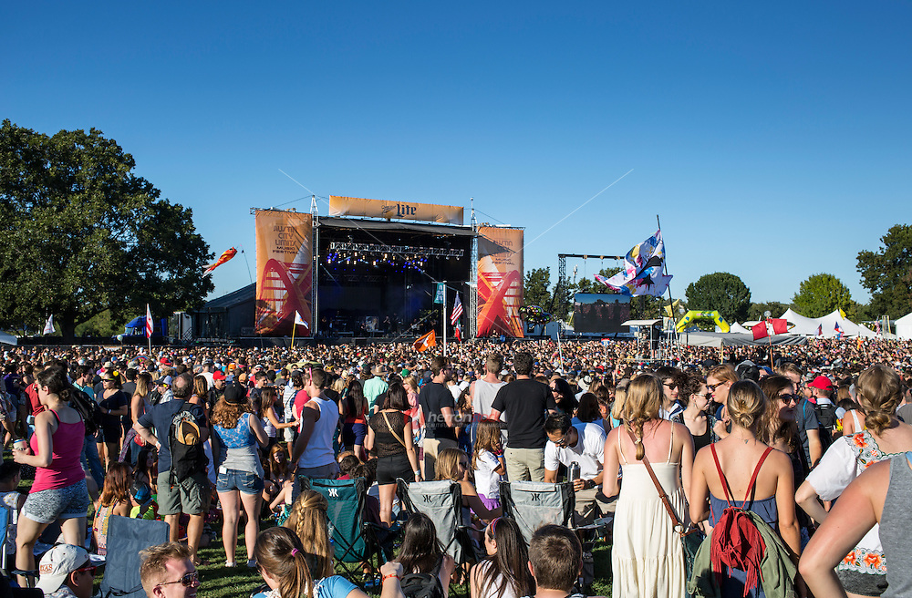 Austin, Texas - October 12: Crowds gather in front of a concert stage during the ACL Austin City Limits Music Festival on October 12, 2014.<br /> <br /> Release Information: Editorial Use Only.<br /> Use of this image in advertising or for promotional purposes is prohibited.