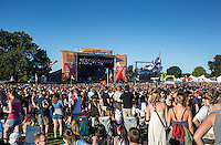 Austin, Texas - October 12: Crowds gather in front of a concert stage during the ACL Austin City Limits Music Festival on October 12, 2014.<br />