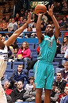 SIOUX FALLS, SD - FEBRUARY 1:  Damian Saunders #18 from the Sioux Falls Skyforce shoots over Samardo Samuels #33 from the Reno Bighorns in the first quarter Friday night at the Sioux Falls Arena. (Photo by Dave Eggen/Inertia)