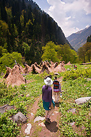 Western tourist and local guide walking along trail through gypsy camp of thatched tepees, Gangabal Lake region of Kashmiri Himalayas, India.