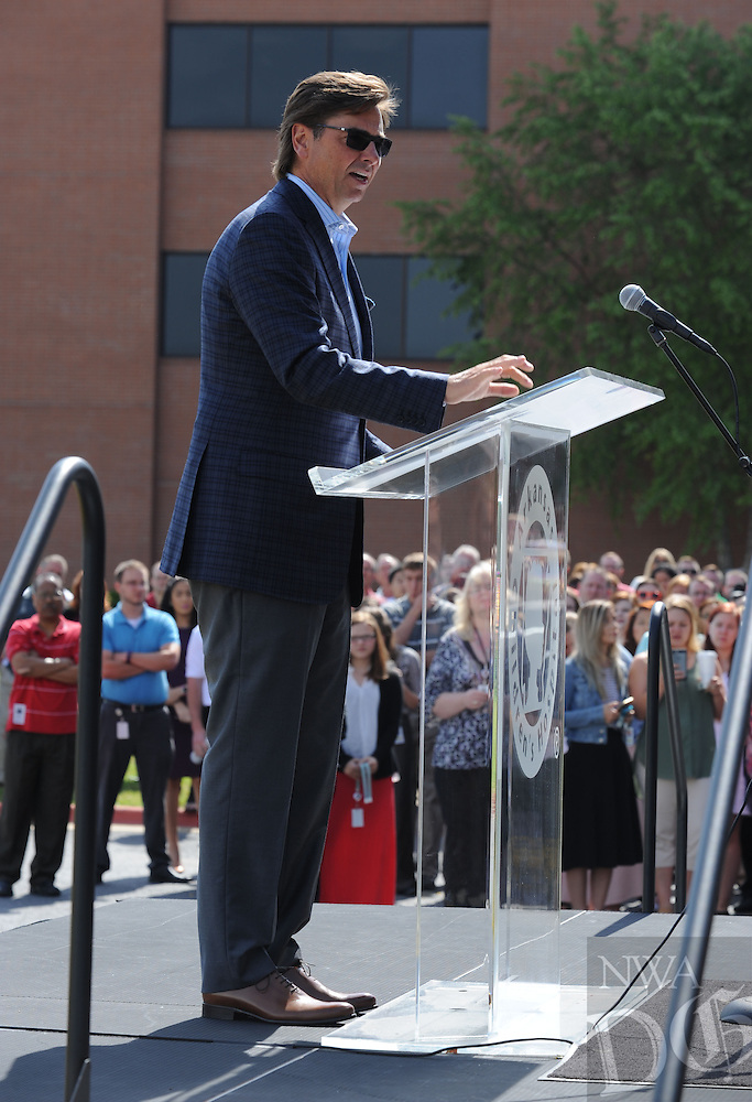 NWA Democrat-Gazette/ANDY SHUPE<br /> John Roberts, president and CEO of J.B. Hunt Transport, speaks Thursday, May 19, 2016, during an announcement of a $5 million gift from J.B. Hunt Transport to Arkansas Children's Hospital for the construction of its planned Northwest Arkansas campus at the J.B. Hunt corporate offices in Lowell.