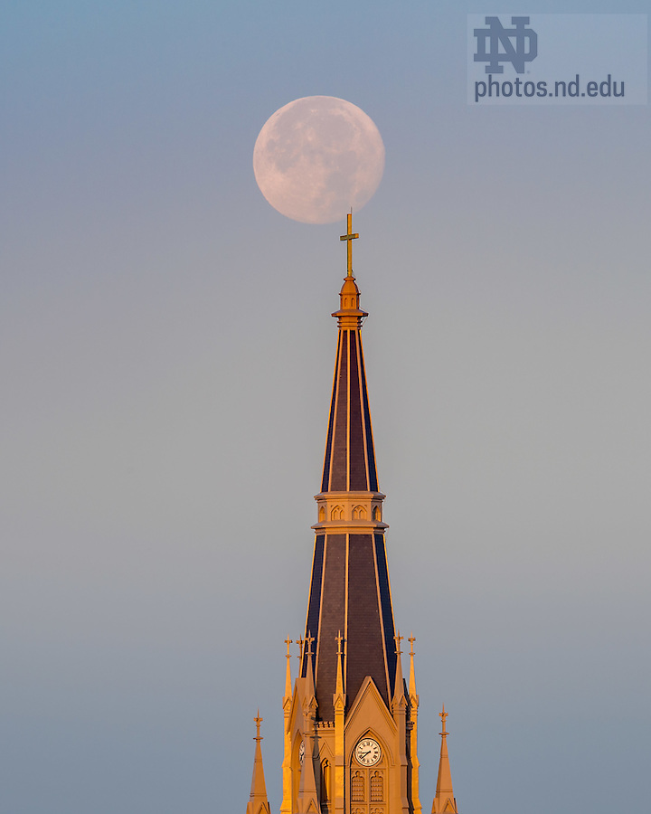 November 15, 2016; Basilica steeple and setting moon (Photo by Matt Cashore/University of Notre Dame)