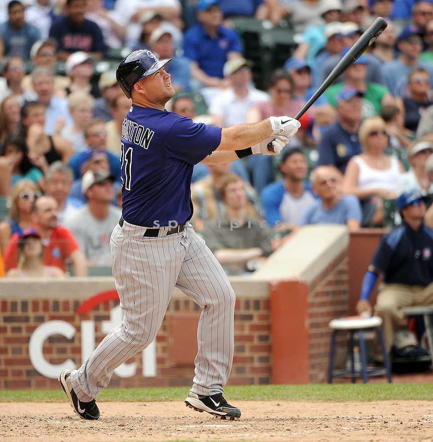 TY WIGGINTON, of the Colorado Rockies, in action during the Rockies game against the Chicago Cubs on June 27, 2011 at Wrigley Field in Chicago, Illinois. The Cubs beat the Rockies 7-3.
