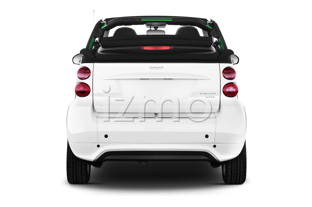 Straight rear view of a 2013 Smart FOR TWO Electric Drive 2 Door Convertible Rear View  stock images