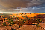 Vertical double rainbow over the Colorado River at Dead Horse Point State Park near Moab, Utah.