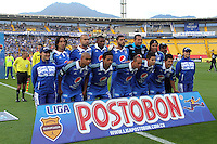 BOGOTA -COLOMBIA. 02-02-2014. Formacion de Los Millonarios  contra  La Equidad durante el partido por la segunda fecha de La liga Postobon 1 disputado en el estadio El Campin. / <br />  The team Millonarios against Equidad during the match for the second date of the Postobon one league played at El Campin.  Stadium Photo: VizzorImage/ Felipe Caicedo / Staff