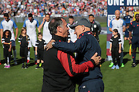 San Diego, CA - Sunday January 29, 2017: Bruce Arena, Slavoljub Muslin prior to an international friendly between the men's national teams of the United States (USA) and Serbia (SRB) at Qualcomm Stadium.