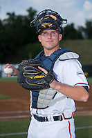 Danville Braves catcher Trey Keegan (23) poses for a photo prior to the game against the Pulaski Yankees at American Legion Post 325 Field on August 1, 2016 in Danville, Virginia.  The Yankees defeated the Braves 4-1.  (Brian Westerholt/Four Seam Images)