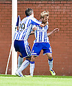 KILMARNOCK'S JAMES DAYTON IS CONGRATULATED BY MANUEL PASCALI AFTER HE SCORES KILLIE'S SECOND