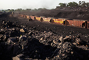 Railcar wagons loaded with coal at a coal depot, operated by Coal India in Jharia, Jharkhand, India