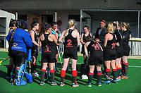 The Wairarapa team huddles during the National Senior Tournament women's hockey match between Wairarapa and Waikato at National Hockey Stadium in Wellington, New Zealand on Wednesday, 20 October 2017. Photo: Dave Lintott / lintottphoto.co.nz