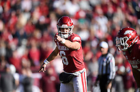 NWA Democrat-Gazette/CHARLIE KAIJO Arkansas quarterback Ben Hicks (6) gestures, Saturday, November 2, 2019 during the second quarter of a football game at Donald W. Reynolds Razorback Stadium in Fayetteville. Visit nwadg.com/photos to see more photographs from the game.