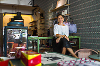 Lisette Scheers, founder, creative director and designer of Nala Designs, poses for a portrait in her shop in Bangsar, Kuala Lumpur, Malaysia, on 18 August 2015. Scheers is of Dutch ethnicity but was born in Singapore and raised in Malaysia, drawing her to incorporate her mixed heritage into her designs. Photo by Suzanne Lee for Monocle