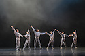 London, UK. 14.06.2018. Birmingham Royal Ballet in dress rehearsal for IN THE UPPER ROOM, choreographed by Twyla Tharp, as part of their mixed bill, &quot;Polarity &amp; Proximity&quot;, at Sadler's Wells. The cast is: Ruth Brill, Laura Purkiss, Jade Heusen, Tzu-Chao Chou, Tyrone Singleton, Kit Holder, <br /> Delia Mathews, Yasuo Atsuji, Miki Mizutani, Momoko Hirata, Feargus Campbell<br /> Max Maslen, C&eacute;line GittensPhotograph &copy; Jane Hobson.