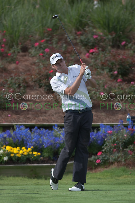 PONTE VEDRA BEACH, FL - MAY 6: Nick Watney tees off on the 18th hole  during his practice round on Wednesday, May 6, 2009 for the Players Championship, beginning on Thursday, at TPC Sawgrass in Ponte Vedra Beach, Florida.