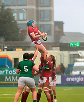9nd February 2020; Energia Park, Dublin, Leinster, Ireland; International Womens Rugby, Six Nations, Ireland versus Wales; Gwen Crabb (Wales) gathers the lineout ball in the tough conditions