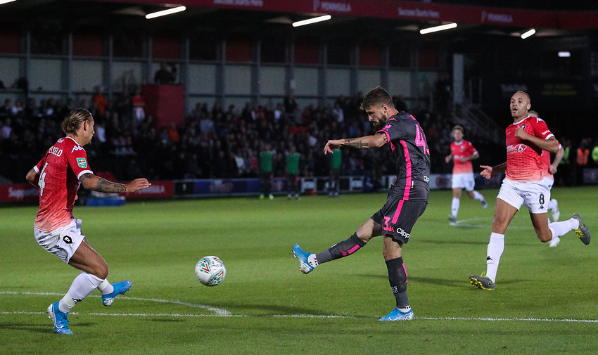 Leeds United's Mateusz Klich scores his side's third goal <br /> <br /> Photographer Alex Dodd/CameraSport<br /> <br /> The Carabao Cup First Round - Salford City v Leeds United - Tuesday 13th August 2019 - Moor Lane - Salford<br />  <br /> World Copyright © 2019 CameraSport. All rights reserved. 43 Linden Ave. Countesthorpe. Leicester. England. LE8 5PG - Tel: +44 (0) 116 277 4147 - admin@camerasport.com - www.camerasport.com