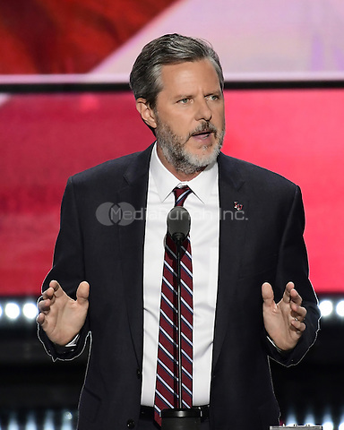 Jerry Falwell, Jr., President Liberty University makes remarks at the 2016 Republican National Convention held at the Quicken Loans Arena in Cleveland, Ohio on Thursday, July 21, 2016.<br /> Credit: Ron Sachs / CNP/MediaPunch<br /> (RESTRICTION: NO New York or New Jersey Newspapers or newspapers within a 75 mile radius of New York City)