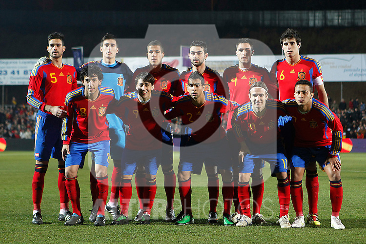 Spain's team photo during Sub-21 international friendly match.February 8,2011. (ALTERPHOTOS/Acero)