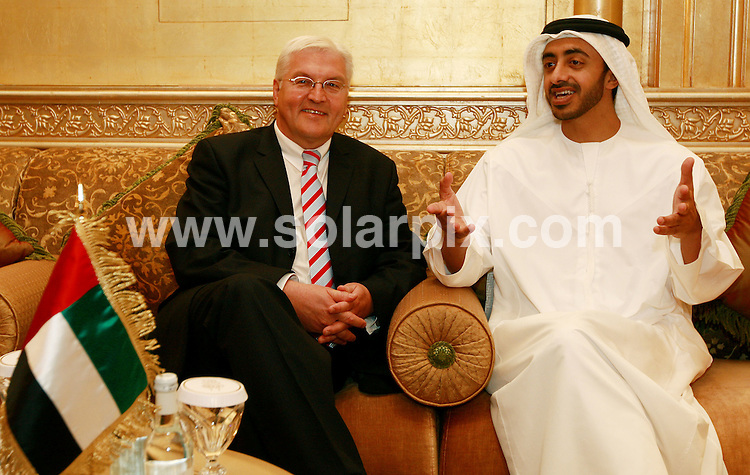 **ALL ROUND PICTURES FROM SOLARPIX.COM**.**WORLDWIDE SYNDICATION RIGHTS**.Press conference held at the Emirates Palace, Abu Dhabi,  with the UAE foreign minister HH Sheikh Abdullah bin Zayed Al Nahyan and the German foreign minister Frank Walter Steinmeier. 30 October 2008..This pic: HH Sheikh Abdullah bin Zayed Al Nahyan and the German foreign minister Frank Walter Steinmeier..JOB REF: 8497 DBL     DATE: 30_02_2009.**MUST CREDIT SOLARPIX.COM OR DOUBLE FEE WILL BE CHARGED**.**ONLINE USAGE FEE  GBP 50.00 PER PICTURE - NOTIFICATION OF USAGE TO PHOTO @ SOLARPIX.COM**