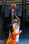 17 November 2015: North Carolina's N'Dea Bryant (22) shoots over Florida A&M's Olivia Antilla (21). The University of North Carolina Tar Heels hosted the Florida A&M University Rattlers at Carmichael Arena in Chapel Hill, North Carolina in a 2015-16 NCAA Division I Women's Basketball game. UNC won the game 94-58.