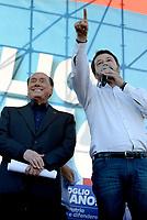 Roma, 19 Ottobre 2019<br /> Silvio Berlusconi e Matteo Salvini.<br /> Orgoglio italiano, manifestazione della Lega e del centro destra a San Giovanni, contri il governo