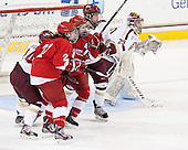 Emily Pfalzer (BC - 14), Erin Barley-Maloney (Cornell - 22), Alyssa Gagliardi (Cornell - 2), Dana Trivigno (BC - 8), Corinne Boyles (BC - 29) - The Boston College Eagles defeated the visiting Cornell University Big Red 4-3 (OT) on Sunday, January 11, 2012, at Kelley Rink in Conte Forum in Chestnut Hill, Massachusetts.