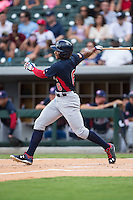 Corey Ray (6) of the US Collegiate National Team follows through on his swing against the Cuban National Team at BB&T BallPark on July 4, 2015 in Charlotte, North Carolina.  The United State Collegiate National Team defeated the Cuban National Team 11-1.  (Brian Westerholt/Four Seam Images)