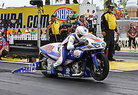 Mar. 17, 2013; Gainesville, FL, USA; NHRA pro stock motorcycle rider Hector Arana Jr during the Gatornationals at Auto-Plus Raceway at Gainesville. Mandatory Credit: Mark J. Rebilas-