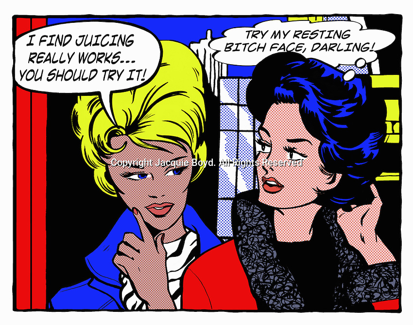 Pop art comic of woman advising angry friend ExclusiveImage