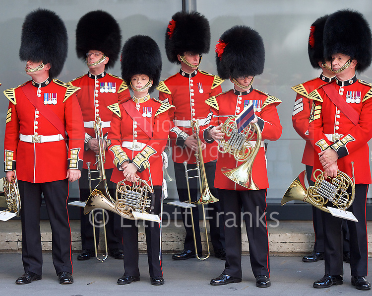 The Band of the Coldstream Guards outside the <br /> BBC, Broadcasting House, London, Great Britain <br /> 9th April 2017 <br /> <br /> <br /> The band of the Coldstream Guards <br /> playing &quot;Pacific&quot; live on BBC Radio 4 <br /> to promote the forthcoming St George's Day concert at Cadogan Hall, Chelsea on 22nd April 2017 in aid of Combat Stress <br /> <br /> Photograph by Elliott Franks <br /> Image licensed to Elliott Franks Photography Services