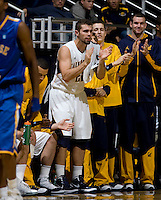 Harper Kamp of California is pictured applauding from the bench during the game against SJSU at Haas Pavilion in Berkeley, California on December 7th, 2011.   California defeated San Jose State, 81-62.