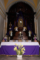 Altar of San Cristobal parish church in the Spanish colonial river town of Tlacotalpan, Veracruz, Mexico. Tlacotlapan was made a UNESCO World Heritage Site in 1998.