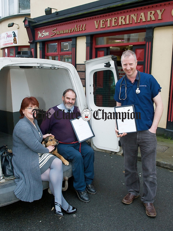 Caroline Quinlivan of Clare ISPCA who presented Frankie Coote ISPCA Dog Warden for Clare and Eoin O Connor, vet at Summerhill Veterinary Centre, Ennis with awards to mark their service to Clare ISPCA. Photograph by John Kelly.