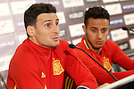 Spain's Aritz Aduriz (l) and Thiago Alcantara in press conference during previous friendly match. May 31,2016.(ALTERPHOTOS/Acero)